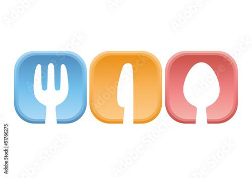 Drei Farbige Teller Mit Besteck Logo Restaurant Buy This Stock