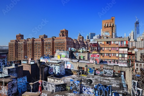 Photo Stands New York Graffiti Rooftops in New York City
