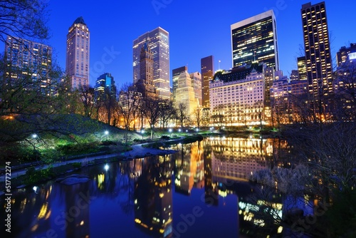 Poster Foto van de dag Central Park at Night in New York City