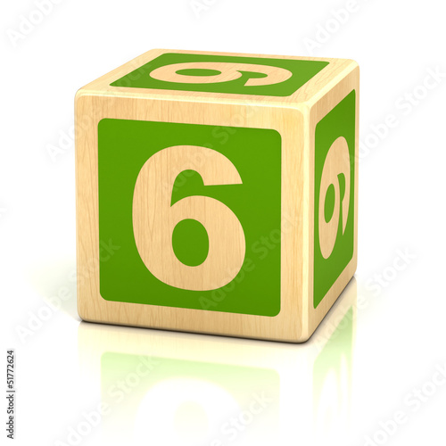 Poster  number six 6 wooden blocks font