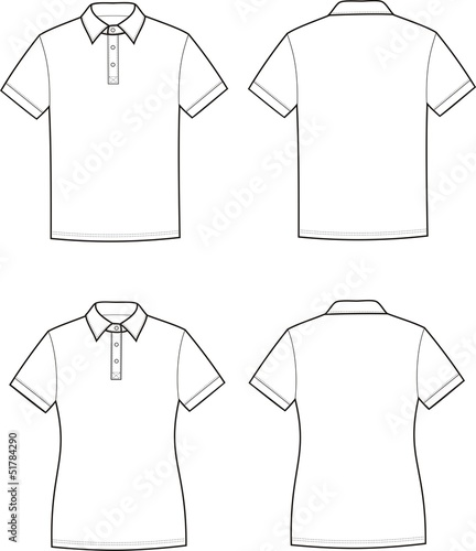 Stampa su Tela Vector illustration of men's and women's polo t-shirts