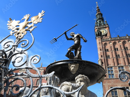 Fotografie, Obraz  Neptune Fountain and city hall in Gdansk, Poland