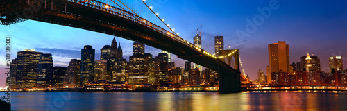 Wall Murals New York Manhattan panorama with Brooklyn Bridge at sunset in New York