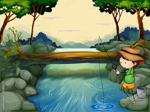 Canvas Prints River, lake A boy fishing at the river