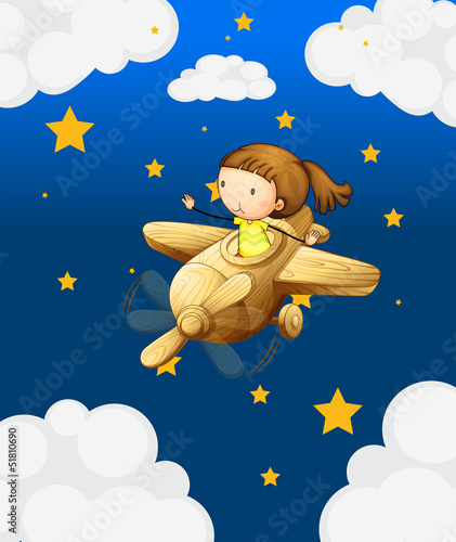 Tuinposter Hemel A girl riding in a wooden plane