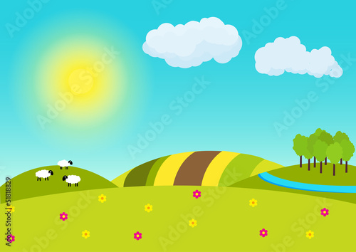 Spoed Foto op Canvas Turkoois Sunny countryside landscape illustration