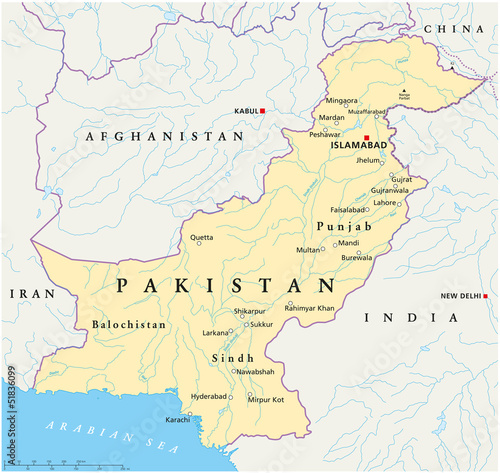 Foto op Canvas Wereldkaart Pakistan map (Pakistan Landkarte)
