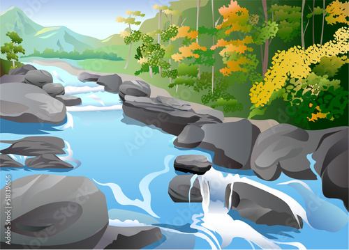 Canvas Prints River, lake Landscape in Autumn