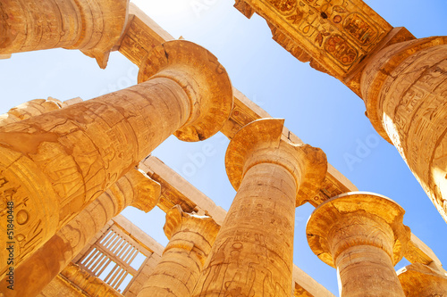 Foto op Aluminium Egypte Pillars of the Great Hypostyle Hall in Karnak Temple, Egypt