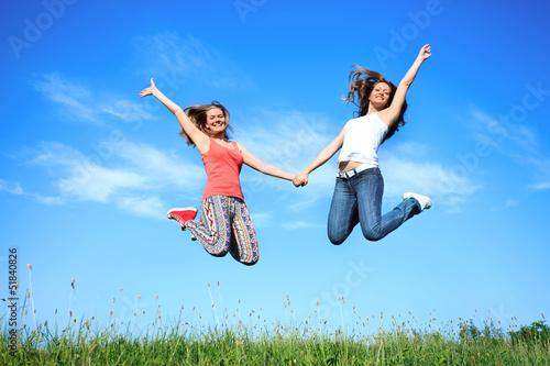 Photo  jumping girls