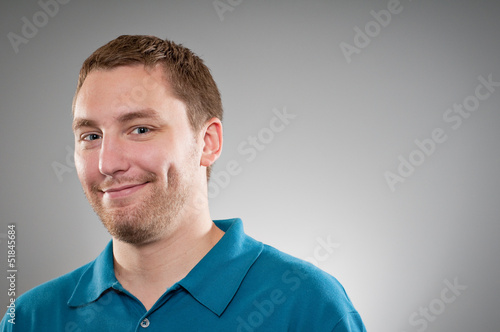 Caucasian Man  Shy Smile Portrait Tablou Canvas