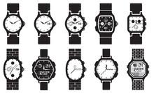 Icon Set Clocks, Vector Illust...