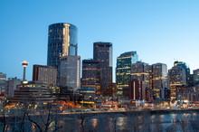 Calgary Skyline At Dusk, With ...
