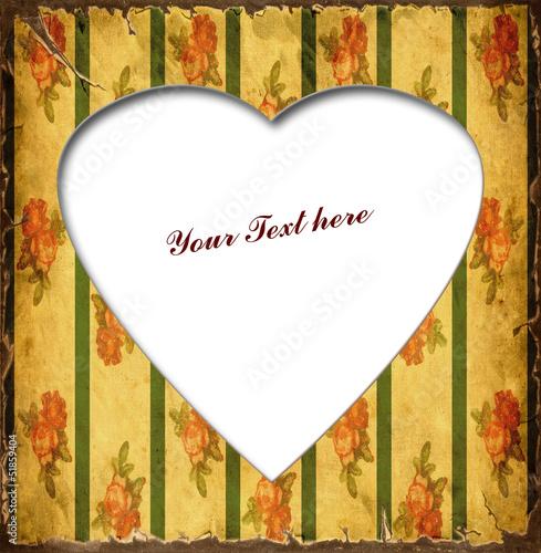 Foto op Plexiglas Vintage Poster Weisses Herz - Rote Blumen