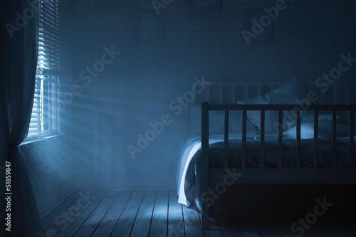 Fotografiet Bedroom with moonlight and smoke