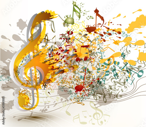 Art ornate treble clef with colorful splash, staves and notes fo