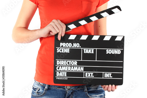 Fotografie, Obraz  Movie production clapper board in hands isolated on white
