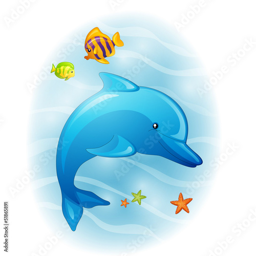 Fotobehang Dolfijnen Vector Illustration of a Cartoon Dolphin