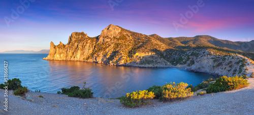 Poster Prune Colorful summer sunrise on the sea. Royal bay, Novy Svet, Cremea