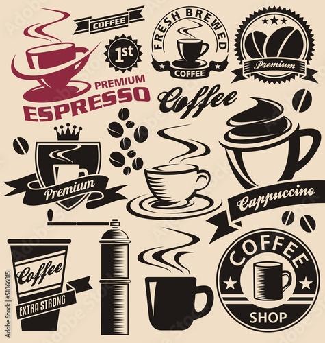 Fototapeta do kuchni Set of coffee symbols, icons and signs