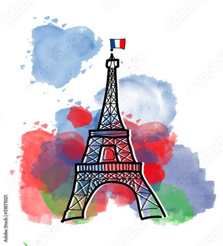 Recess Fitting Illustration Paris Colors of Eiffel Tower