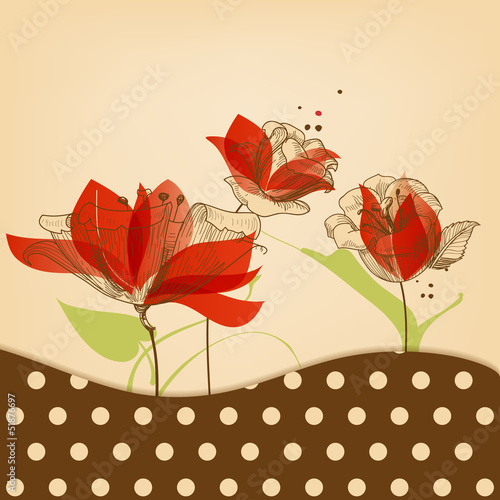 Foto auf AluDibond Abstrakte Blumen Retro floral beauty background