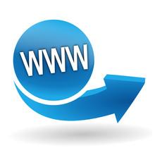 Nom De Domaine Sur Bouton Web Bleu