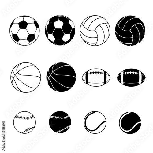Collection Of Black And White Sports Balls Silhouettes Wall mural