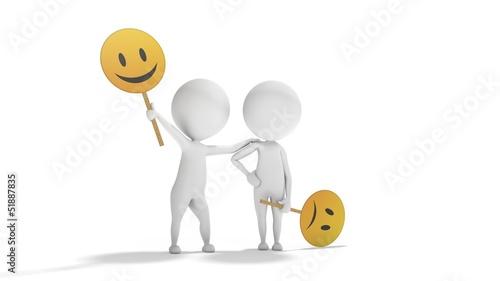 Fotografia  Optimism versus Pessimism with white 3d people