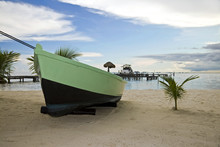 A Boat In A Beach Of Isla Mujeres, Mexico
