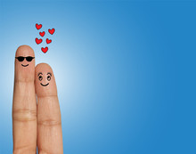 Blind Man And Loving Lady -  Love Concept With Fingers