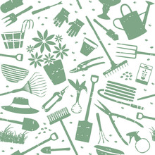 Scratched Gardening Related Seamless Pattern