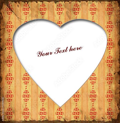 Foto op Plexiglas Vintage Poster Weisses Herz - Rote Muster