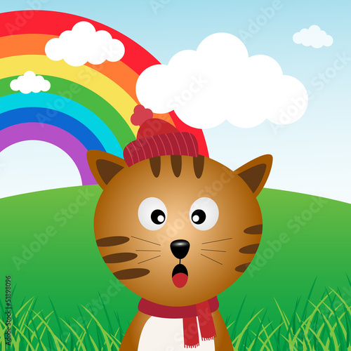 Printed kitchen splashbacks Cats Cat in the forest with rainbow