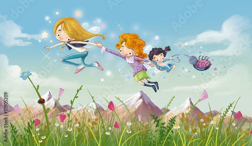 dziewczynki-latajace-nad-laka-pelna-kwiatow