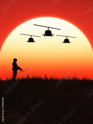 Poster Militaire Soldat im Sonnenuntergang