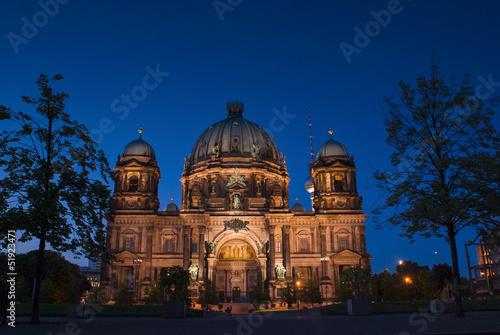 Fotobehang Volle maan Berliner Dom, Berlin Cathedral, Germany