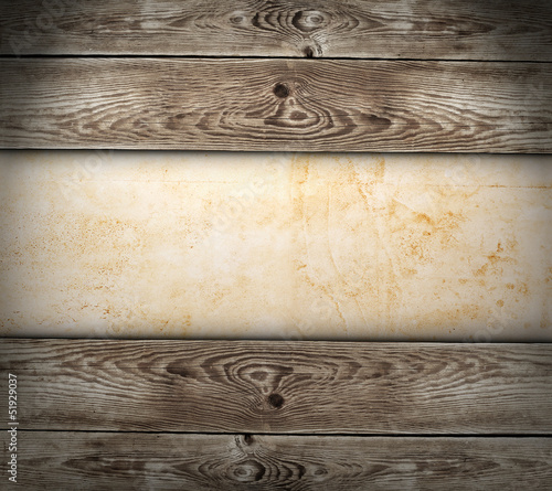 Old paper on the wood background - 51929037