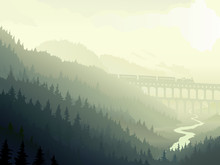 Steam Train In Wild Coniferous Wood In Morning Fog.