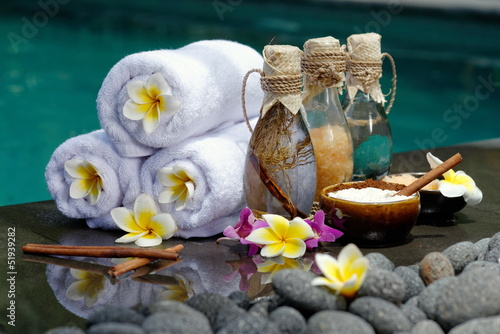 In de dag Bali At the Spa, concept in a luxury Villa on Bali Island