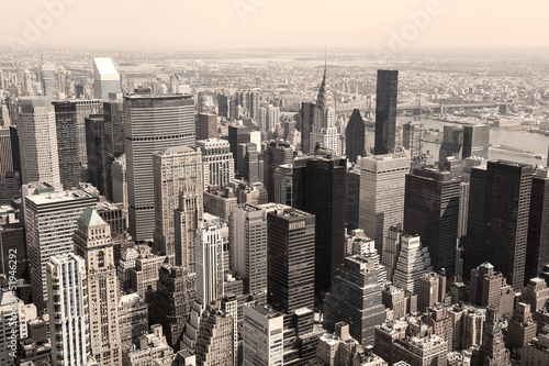 Valokuva  Skyline of Manhattan, NYC - sepia image