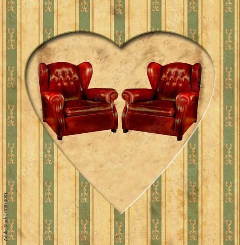 Foto op Plexiglas Vintage Poster Vintage Heart - Ledersessel