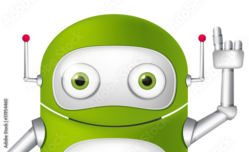 Montage in der Fensternische Roboter Cartoon Character Android