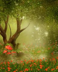 Plakat Zaczarowane drzewo nad stawem i łąką z czerwonymi makami