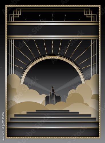 Tela  Art Deco Background and Frame