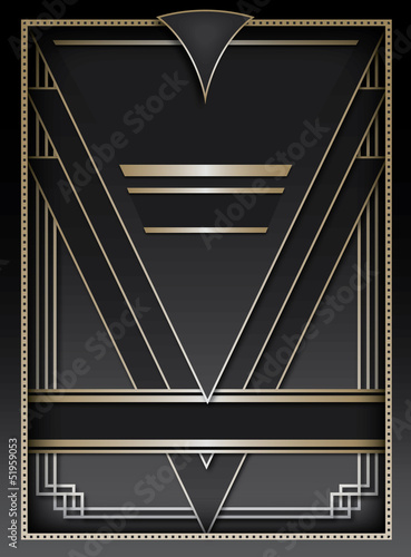 Poster  Art Deco Background and Frame