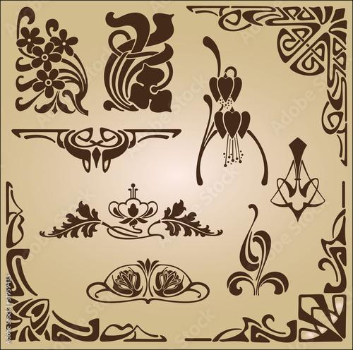 Fotografía  Design elements for decoration in the style of Art Nouveau.