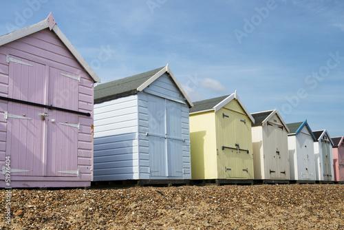 Beach Huts at Felixstowe, Suffolk, UK. Fototapeta