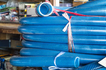 Stack Of Plastic Tubular Pipes
