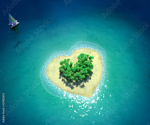 Fotobehang Eiland Tropical Island in form of heart